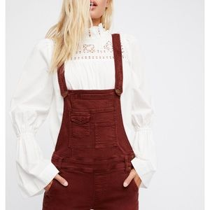 Free People Maroon Overalls